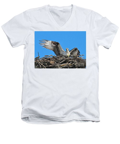Men's V-Neck T-Shirt featuring the photograph Spread-winged Osprey  by Debbie Stahre
