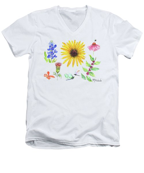 Spring 2017 Medley Watercolor Art By Kmcelwaine Men's V-Neck T-Shirt by Kathleen McElwaine