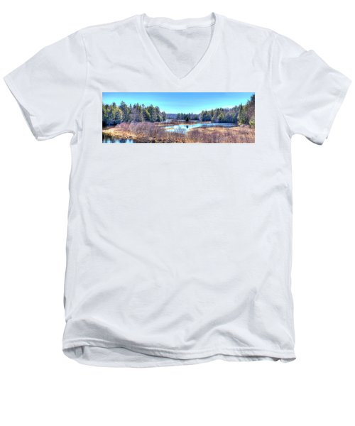 Men's V-Neck T-Shirt featuring the photograph Spring Scene At The Tobie Trail Bridge by David Patterson