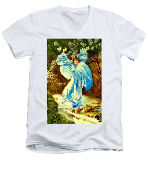 Men's V-Neck T-Shirt featuring the painting Spring - Awakening by Henryk Gorecki