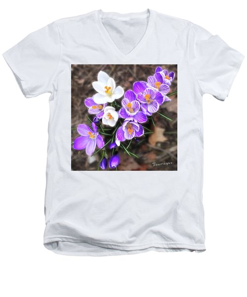 Men's V-Neck T-Shirt featuring the photograph Spring Beauties by Terri Harper