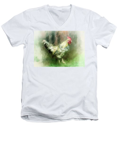 Men's V-Neck T-Shirt featuring the digital art Spring Chicken by Lois Bryan