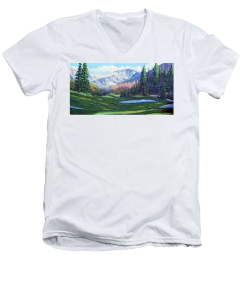 Men's V-Neck T-Shirt featuring the painting Spring Colors In The Rockies by Billie Colson