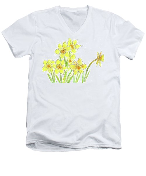 Men's V-Neck T-Shirt featuring the painting Spring Daffodils by Cathie Richardson