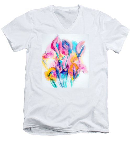 Spring Floral Abstract Men's V-Neck T-Shirt by Lisa Kaiser