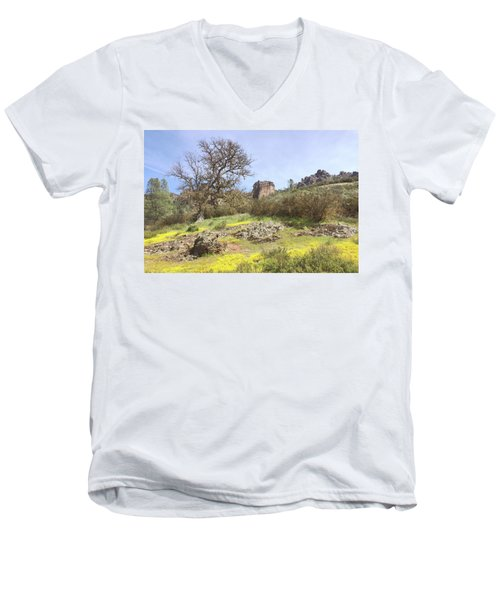 Men's V-Neck T-Shirt featuring the photograph Spring In Pinnacles National Park by Art Block Collections