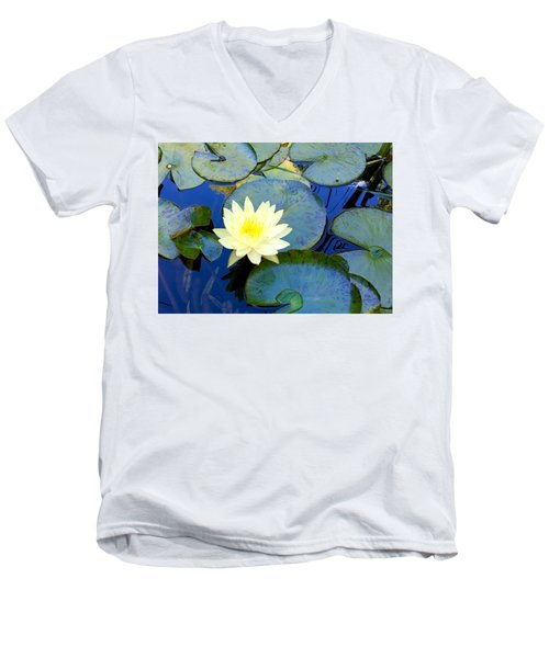Spring Lily Men's V-Neck T-Shirt by Angela Annas