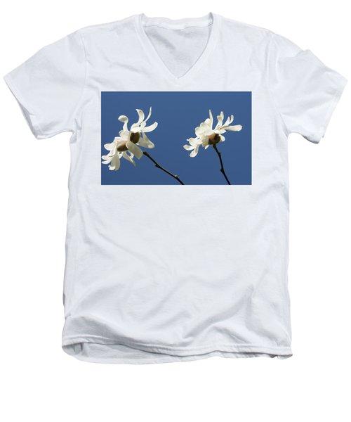 Spring Magnolias Men's V-Neck T-Shirt by Haleh Mahbod