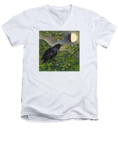 Spring Moon Raven Men's V-Neck T-Shirt