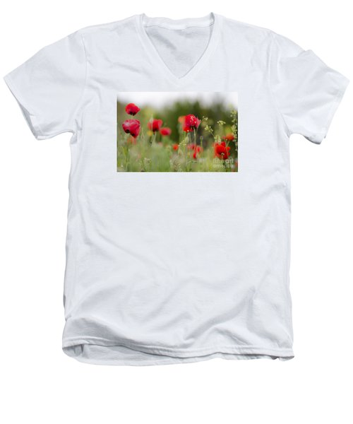 Spring Poppies  Men's V-Neck T-Shirt by Perry Van Munster