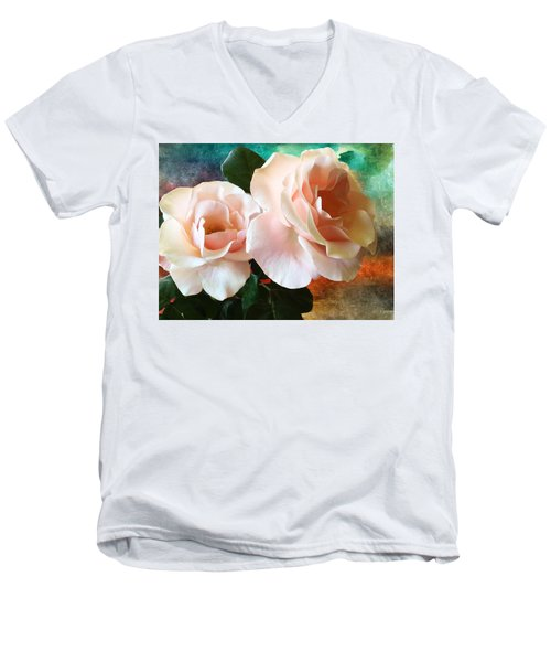 Spring Roses Men's V-Neck T-Shirt by Gabriella Weninger - David