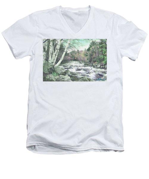 Men's V-Neck T-Shirt featuring the digital art Spring Runoff by John Selmer Sr