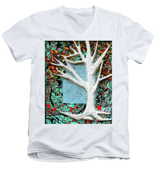 Men's V-Neck T-Shirt featuring the painting Spring Serenade With Tree by Genevieve Esson