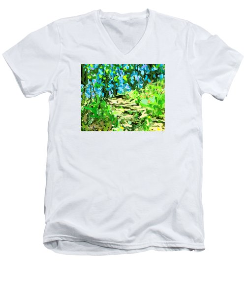 Spring Wood Path  Men's V-Neck T-Shirt