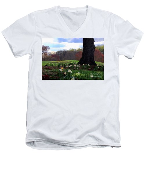 Men's V-Neck T-Shirt featuring the photograph Springing Forward At Edgemont Golf Course by Polly Peacock
