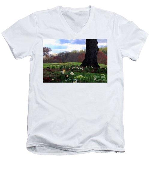 Springing Forward At Edgemont Golf Course Men's V-Neck T-Shirt