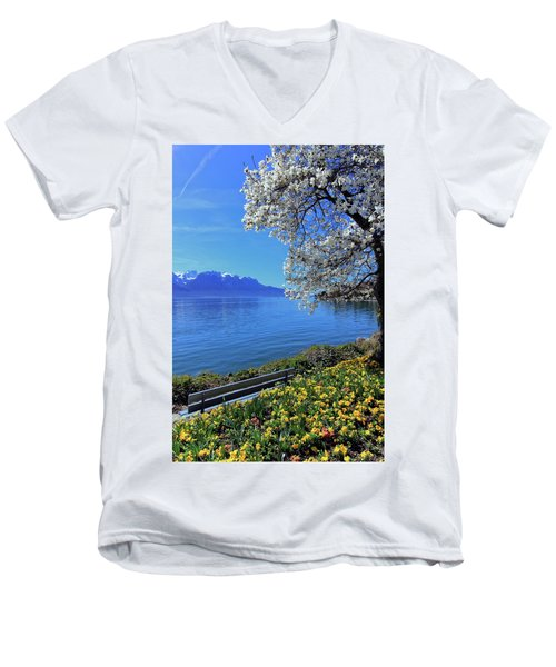 Springtime At Geneva Or Leman Lake, Montreux, Switzerland Men's V-Neck T-Shirt by Elenarts - Elena Duvernay photo