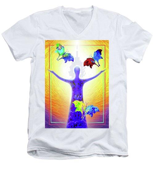 Springtime Men's V-Neck T-Shirt by Hartmut Jager