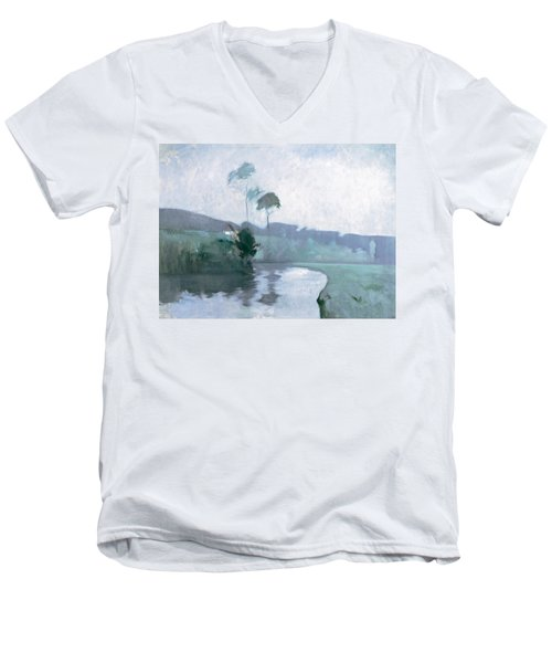 Men's V-Neck T-Shirt featuring the painting Springtime by John Henry Twachtman
