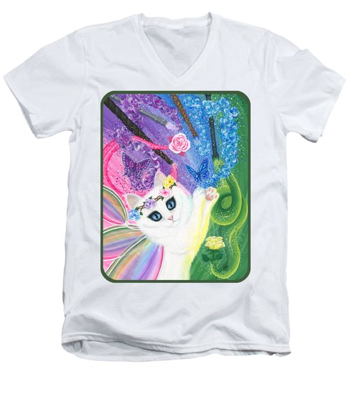 Men's V-Neck T-Shirt featuring the painting Springtime Magic - White Fairy Cat by Carrie Hawks