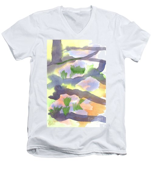 Men's V-Neck T-Shirt featuring the painting Springtime Wildflower Camouflage  by Kip DeVore