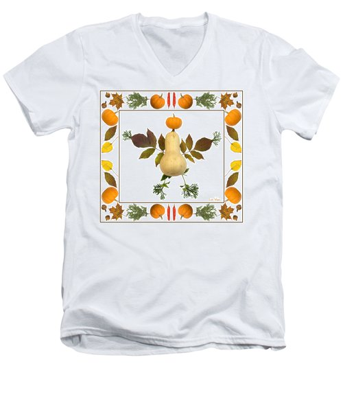 Squash With Pumpkin Head Men's V-Neck T-Shirt by Lise Winne