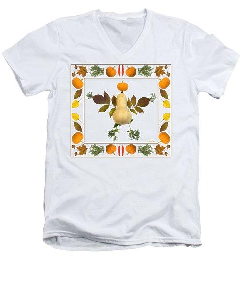 Squash With Pumpkin Head Men's V-Neck T-Shirt