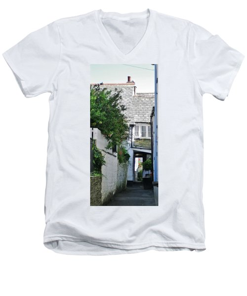 Squeeze-ee-belly Alley Men's V-Neck T-Shirt by Richard Brookes