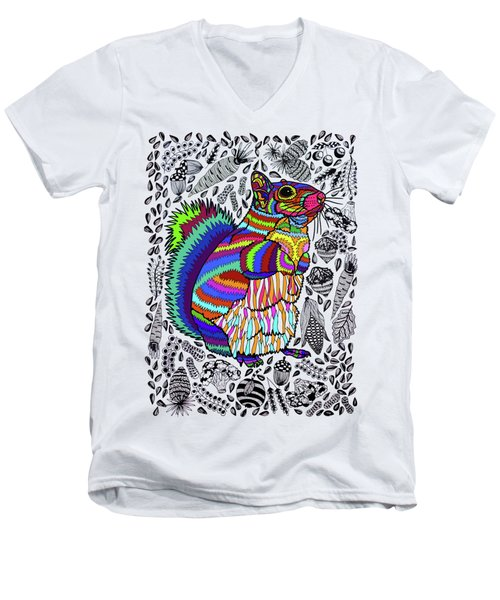 Squirrel Men's V-Neck T-Shirt by ZileArt