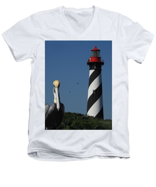 St. Augustine Lighthouse Men's V-Neck T-Shirt by Rod Seel