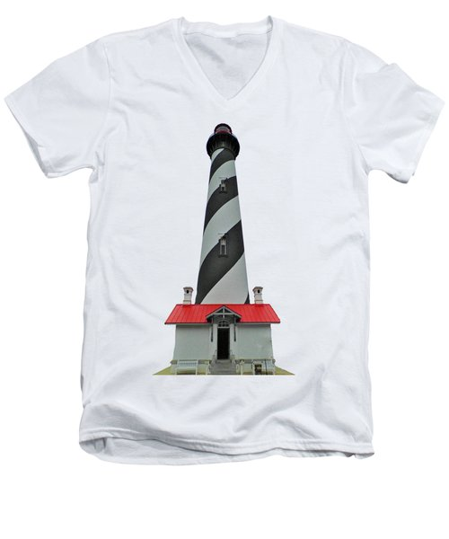 St Augustine Lighthouse Transparent For T Shirts Men's V-Neck T-Shirt by D Hackett