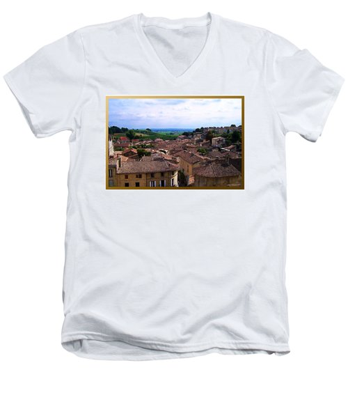 Men's V-Neck T-Shirt featuring the photograph St. Emilion View by Joan  Minchak