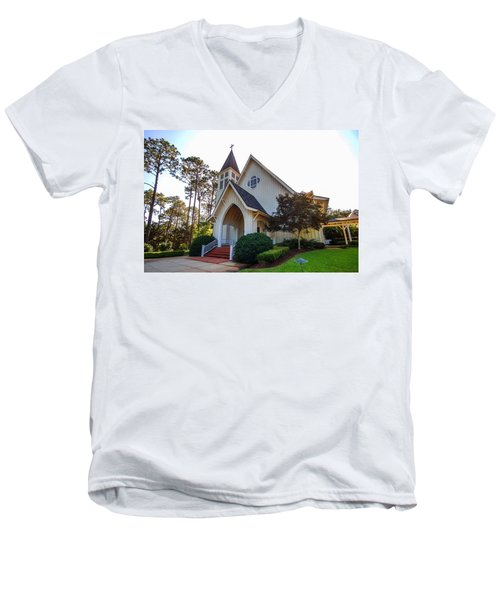 Men's V-Neck T-Shirt featuring the photograph St. James V2 Fairhope Al by Michael Thomas