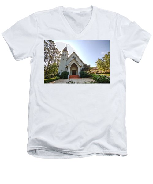 Men's V-Neck T-Shirt featuring the photograph St. James V3 Fairhope Al by Michael Thomas