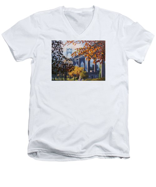 Men's V-Neck T-Shirt featuring the painting St Johns Autumn by Karen Ilari