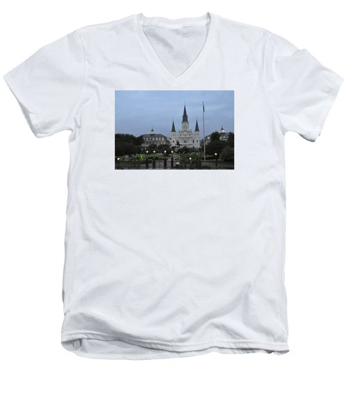 St. Louis Catherderal Men's V-Neck T-Shirt by Helen Haw