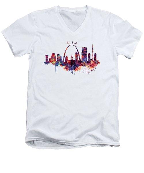 Men's V-Neck T-Shirt featuring the digital art St Louis Skyline by Marian Voicu