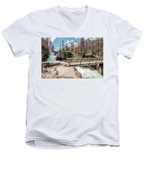 St. Mary Falls With Bridge Men's V-Neck T-Shirt