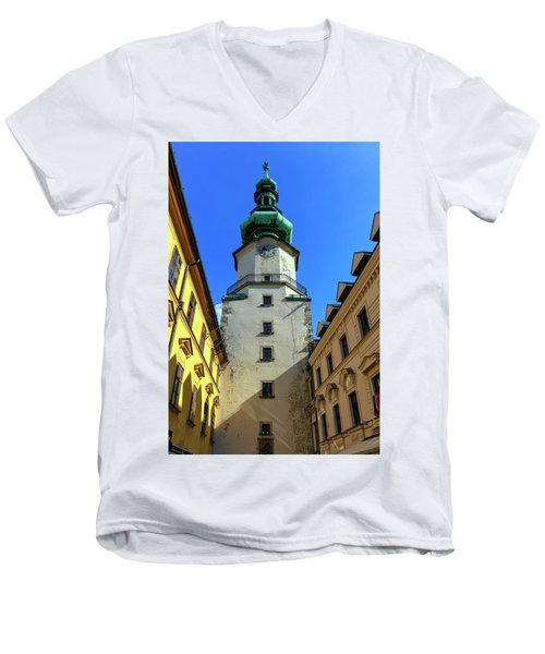 St Michael's Tower In The Old City, Bratislava, Slovakia, Europe Men's V-Neck T-Shirt by Elenarts - Elena Duvernay photo