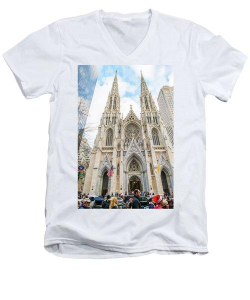 St. Patrick Cathedral In New York Men's V-Neck T-Shirt