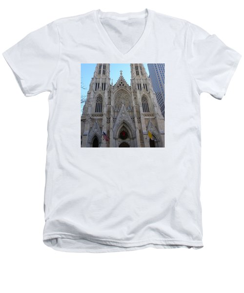Men's V-Neck T-Shirt featuring the photograph St Patrick's Cathedral, Nyc by Melinda Saminski