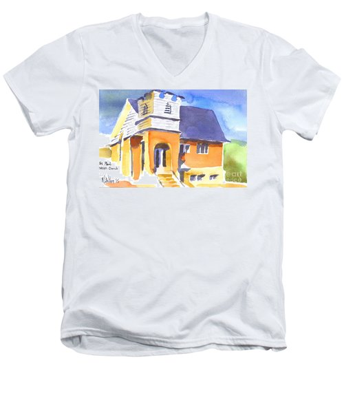 Men's V-Neck T-Shirt featuring the painting St Paul Lutheran 3 by Kip DeVore
