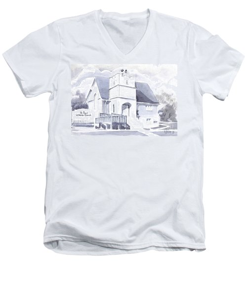 Men's V-Neck T-Shirt featuring the painting St. Paul Lutheran Church 2 by Kip DeVore