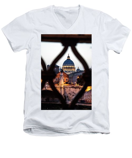 Men's V-Neck T-Shirt featuring the photograph St. Peter's Basilica From The St. Angelo Bridge by Jean Haynes