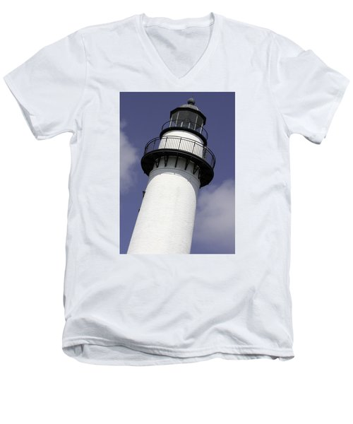 St Simons Island Lighthouse Men's V-Neck T-Shirt by Elizabeth Eldridge