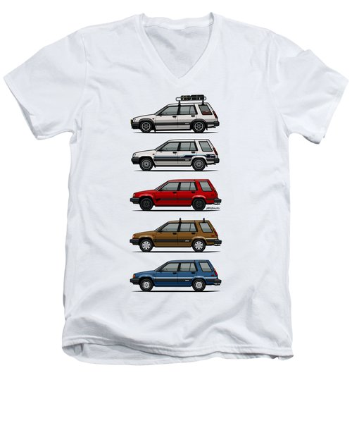 Stack Of Toyota Tercel Sr5 4wd Al25 Wagons Men's V-Neck T-Shirt