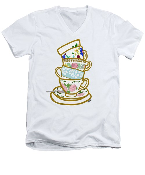 Stacked Teacups Men's V-Neck T-Shirt by Priscilla Wolfe