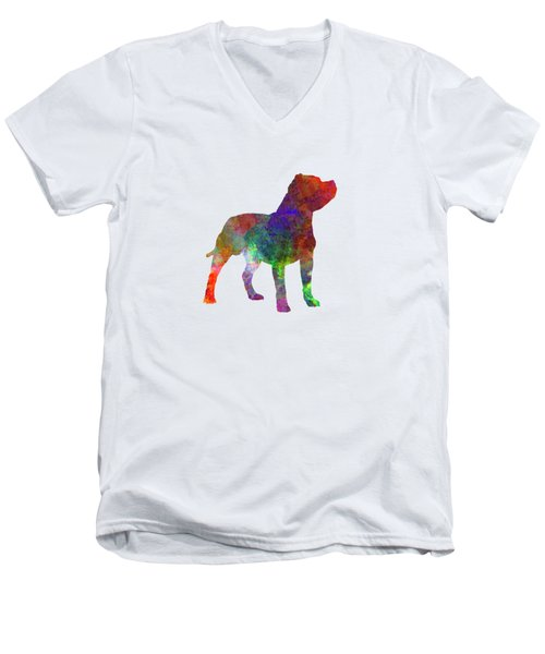 Staffordshire Bull Terrier In Watercolor Men's V-Neck T-Shirt by Pablo Romero