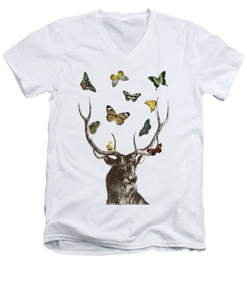 Stag And Butterflies Men's V-Neck T-Shirt