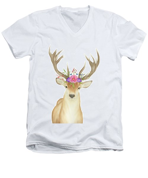 Men's V-Neck T-Shirt featuring the painting Stag Watercolor  by Taylan Apukovska